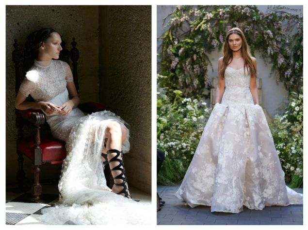 Left: Vera Wang uses an overlay of light French tulle accented with pearl, crystal, and floral embroidery to enhance her rose lace gown, $25,000. Right: From Monique Lhuillier, the strapless sweetheart corset in embroidered tulle and floral fil coupé is paired with a drop-waist, pleated A-line skirt, corset, $3,750, skirt, $7,970.