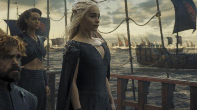 Daenerys Targaryen and Missandei set sail in splendid, cutaway, caped-back style. Photo: HBO