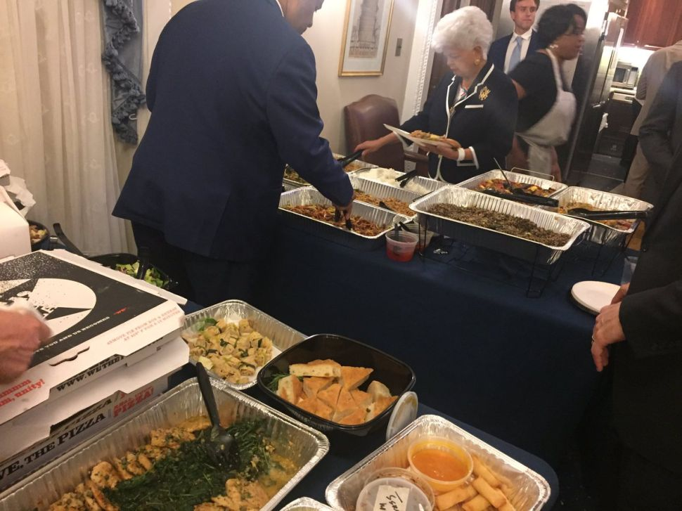 The Democrats staging the sit-in have been forced to endure this catered lunch.