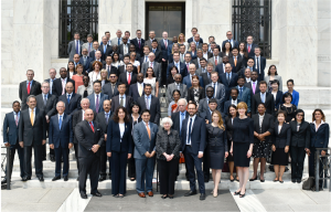 Fed Chair Janet Yellen with cryptocurrency entrepreneurs and representatives of other central banks, in Washington, D.C.