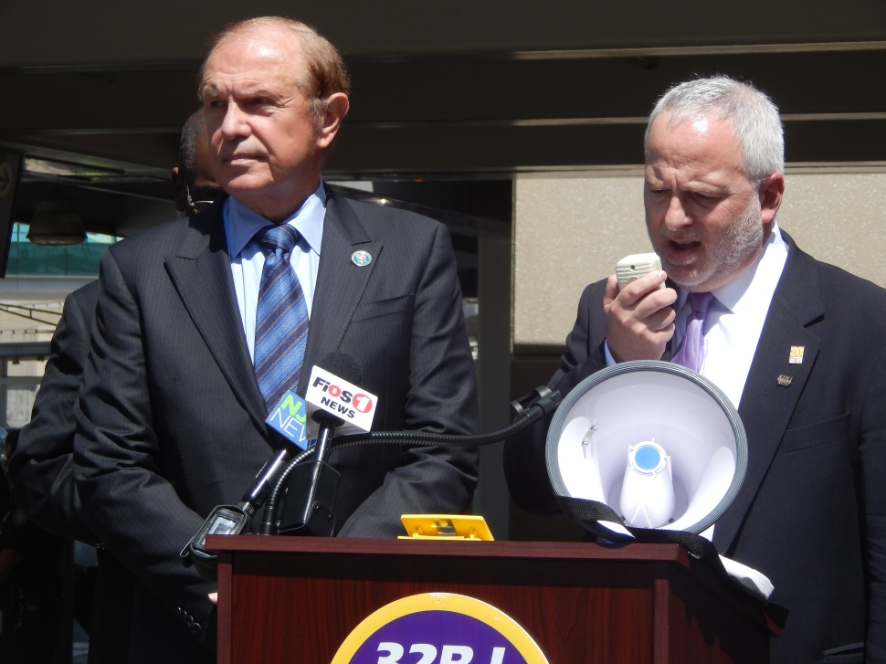 Lesniak, left, and 32BJ SEIU NJ Director Kevin Brown.