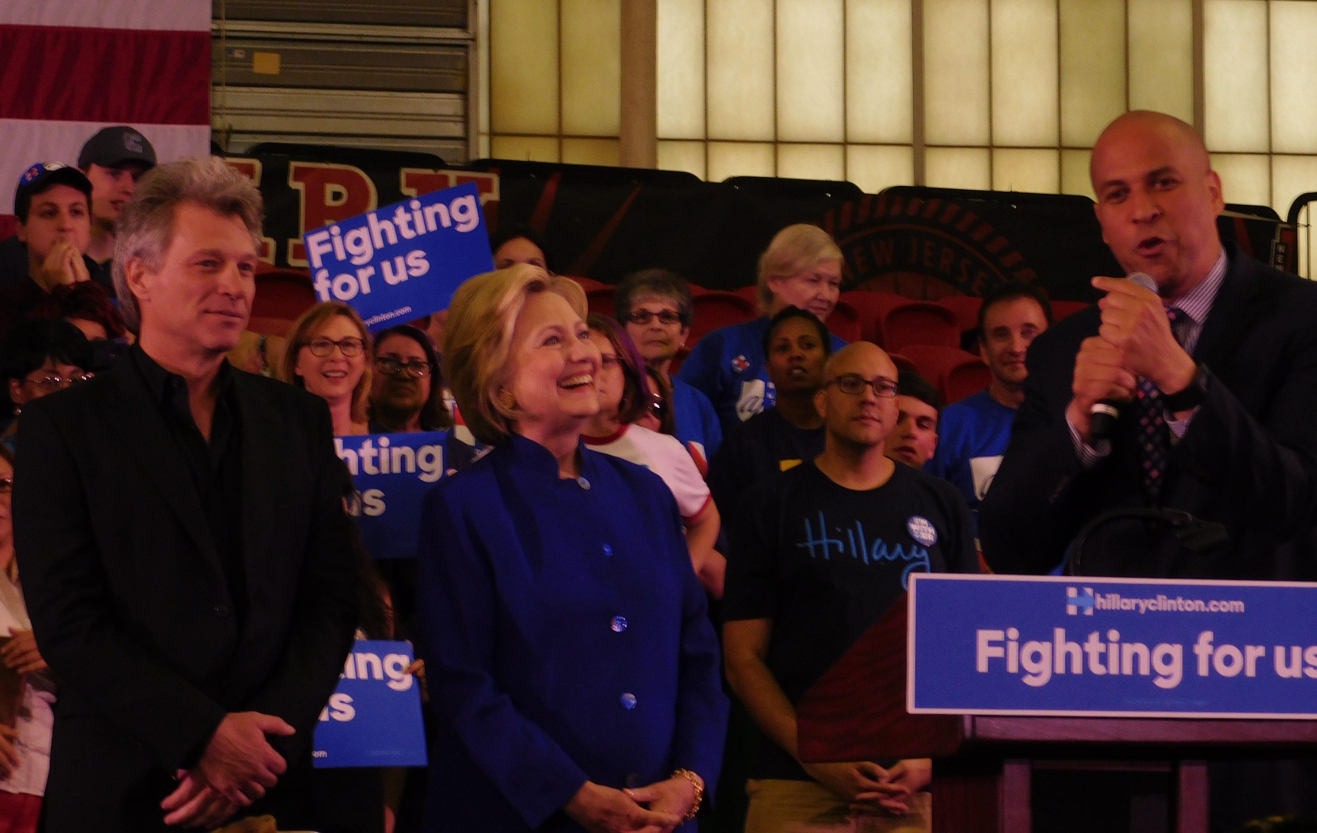 Jon Bon Jovi, Hillary Clinton and Cory Booker.
