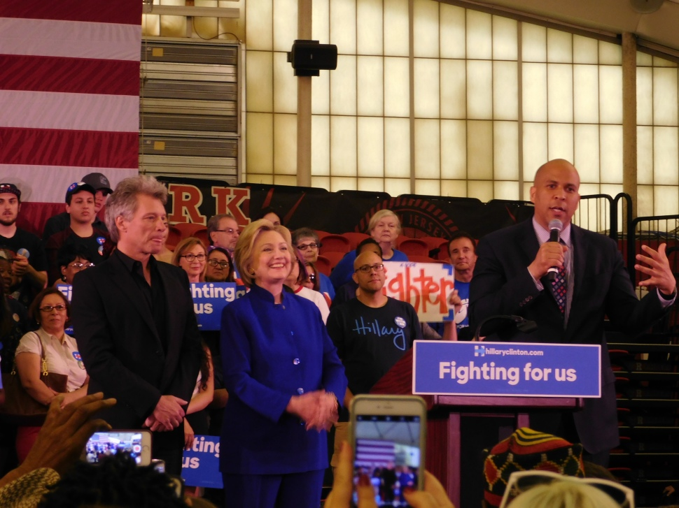 Jon Bon Jovi, Hillary Clinton and Cory Booker.