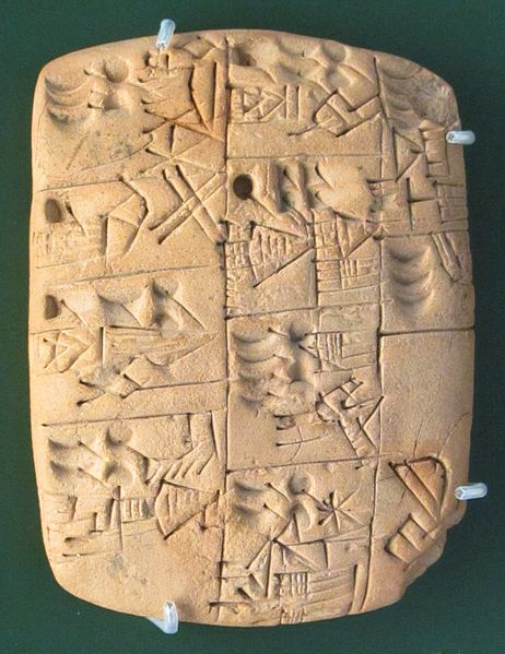 Early writing tablet recording the allocation of beer