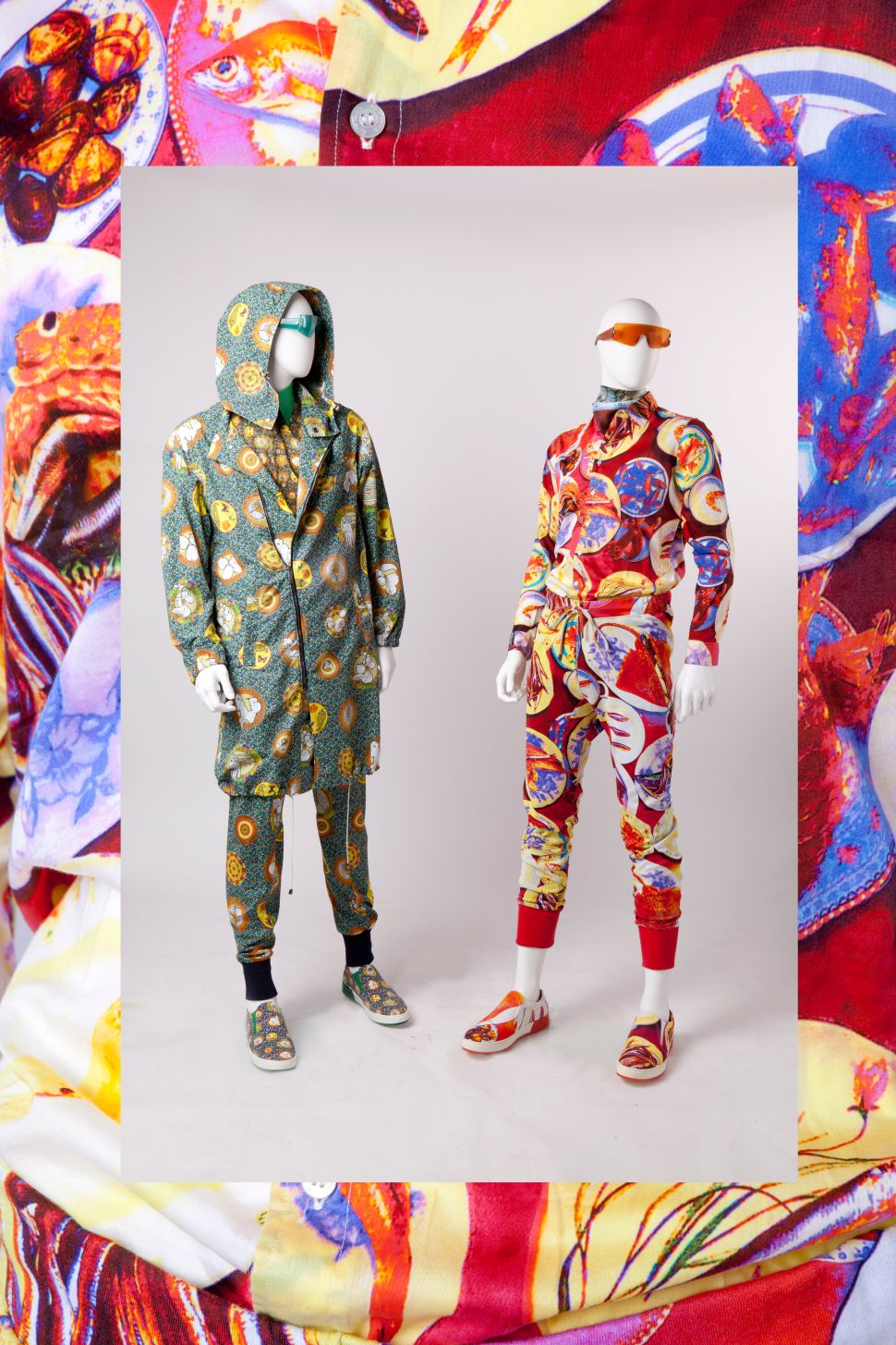 Euro ensembles with food-related prints