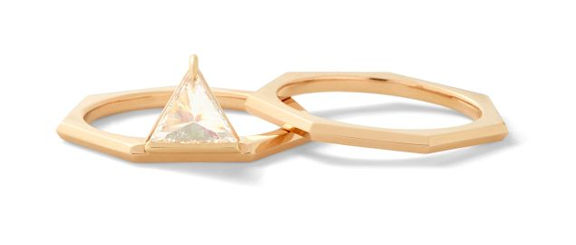 Eva Fehren Queen Ring in 18K Rose Gold with Inverted White Trillion, $11,340; Queen Stacking Band, 18K Rose Gold, $1,250