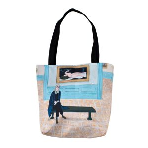 """This tote featuring Hallie Bateman's illustration """"""""Courbet Cutie"""" can be yours for $32.00."""