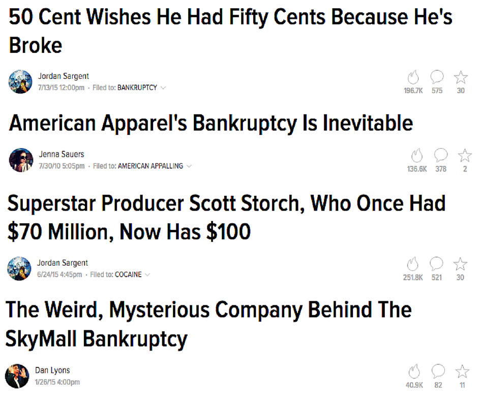 Just a few of the headlines Gawker has used to cover bankruptcies