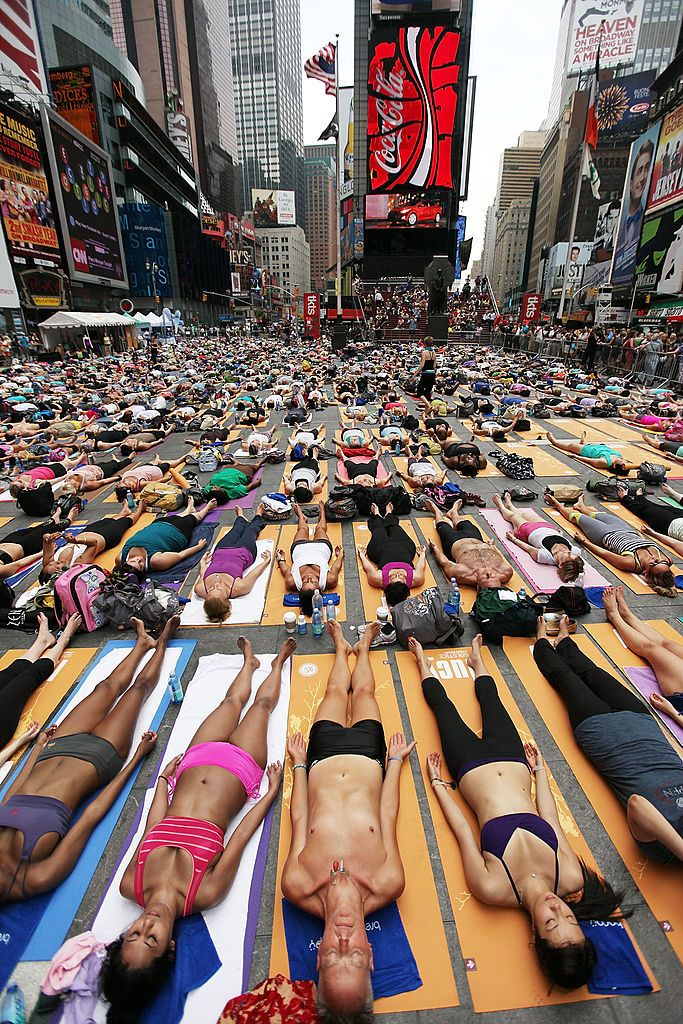 Because nothing says relaxation like lying down in Times Square.