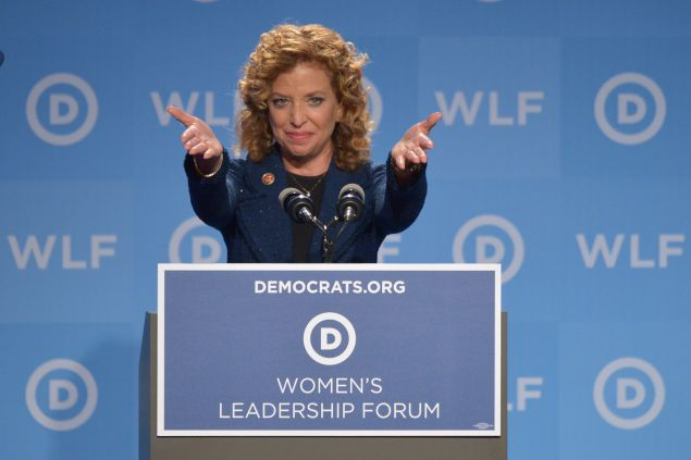 Democratic National Committee (DNC) Chair, Representative Debbie Wasserman Schultz, Democrat of Florida, speaks at the DNC's Leadership Forum Issues Conference in Washington, DC, on September 19, 2014. AFP PHOTO/Mandel NGAN