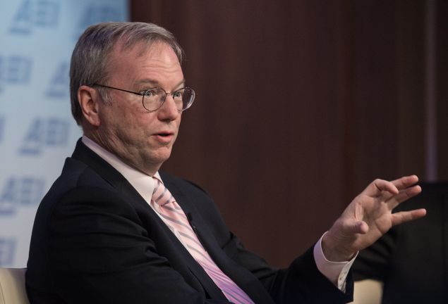 Alphabet Executive Chairman Eric Schmidt spoke with Charlie Rose at in front of the Economic Club of New York on Thursday. (Photo: NICHOLAS KAMM/AFP/Getty Images)