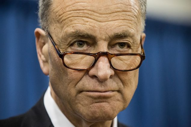 NEW YORK, NY - MARCH 31: U.S. Sen. Charles Schumer (D-NY) attends a press conference announcing federal funding for Super Storm Sandy recovery efforts on March 31, 2015 in New York City. The FEMA grant is the largest single grant in U.S. history for disaster relief.