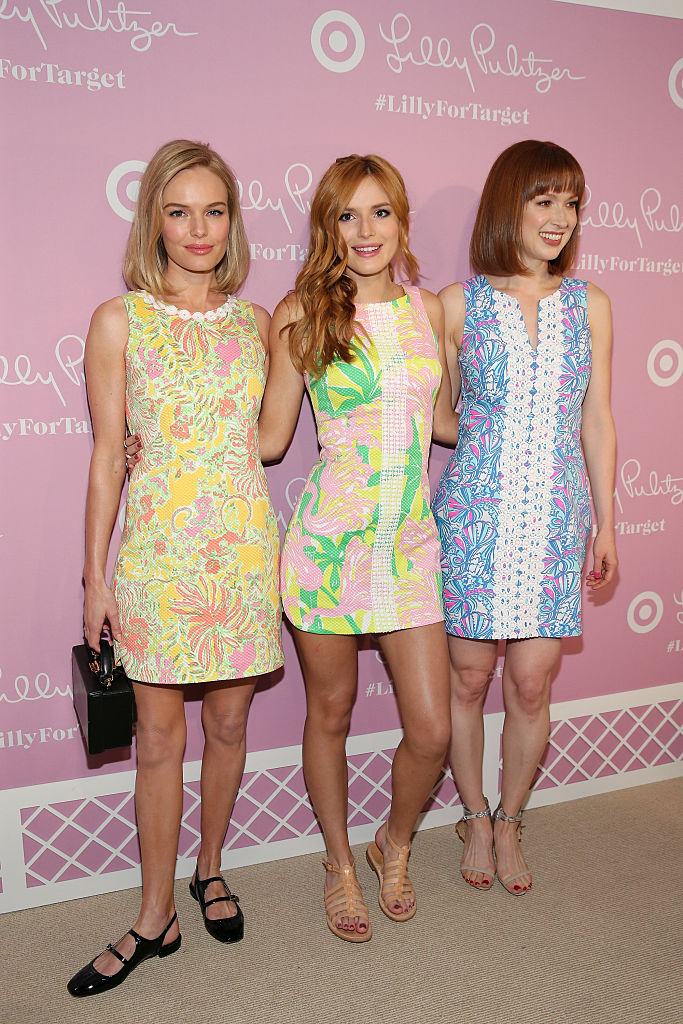 NEW YORK, NY - APRIL 15: (L-R) Actors Kate Bosworth, Bella Thorne and Ellie Kemper attend the Lilly Pulitzer For Target Launch Event at Bryant Park Grill on April 15, 2015 in New York City.