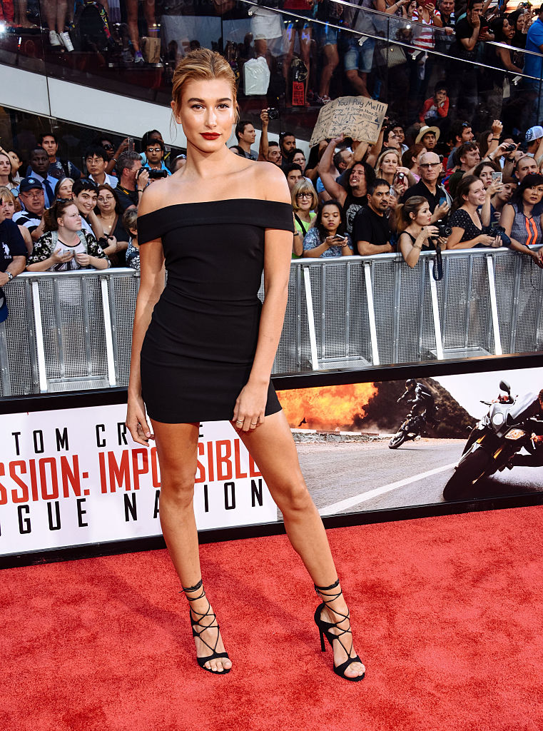 """Hailey Baldwin attends the """"Mission Impossible - Rogue Nation"""" New York Premiere at Duffy Square in Times Square on July 27, 2015 in New York City."""