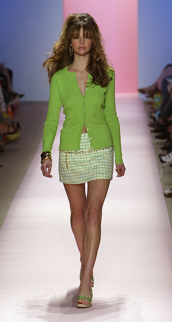 NEW YORK - SEPTEMBER 12: A model walks down the runway at the Lilly Pulitzer Couture Spring 2005 fashion show during the Olympus Fashion Week Spring 2005 at the Plaza in Bryant Park September 12, 2004 in New York City. (Photo by Frazer Harrison/Getty Images)