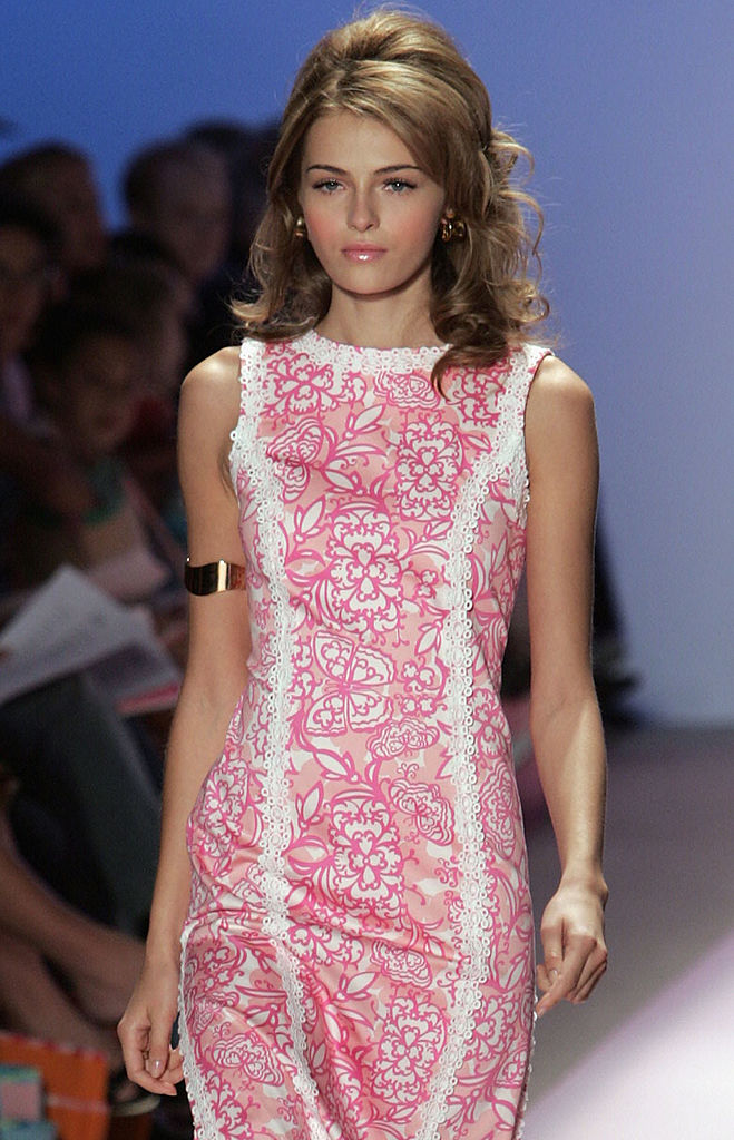 A closeup of a model's outfit is shown as she walks down the runway at the Lilly Pulitzer Couture Spring 2005 fashion show during the Olympus Fashion Week Spring 2005 at the Plaza in Bryant Park September 12, 2004 in New York City.