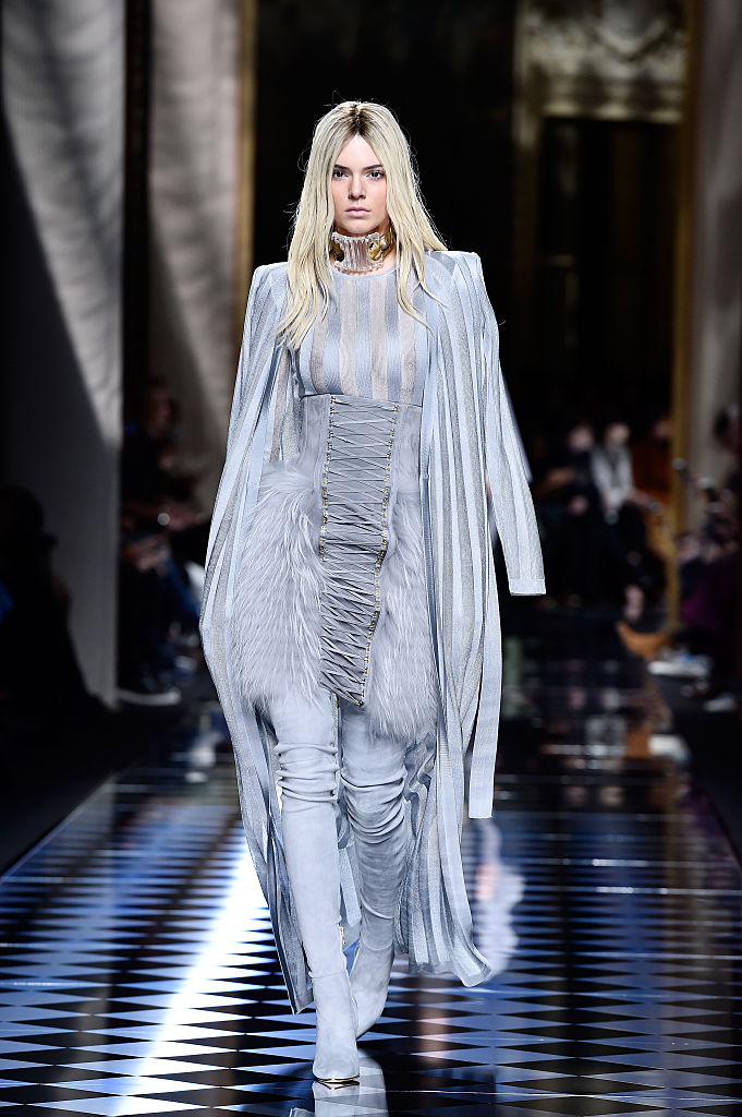 PARIS, FRANCE - MARCH 03: Kendall Jenner walks the runway during the Balmain show as part of the Paris Fashion Week Womenswear Fall/Winter 2016/2017 on March 3, 2016 in Paris, France. (Photo by Pascal Le Segretain/Getty Images)