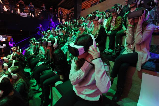 """The audience at Samsung's VR screening of """"The Jungle Book"""""""