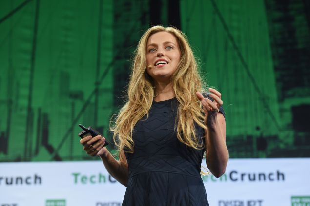 Ritual founder and CEO Katerina Markov presents onstage during the finals at TechCrunch Disrupt New York. Earlier, she had been pumping breast milk on top of an old elevator.