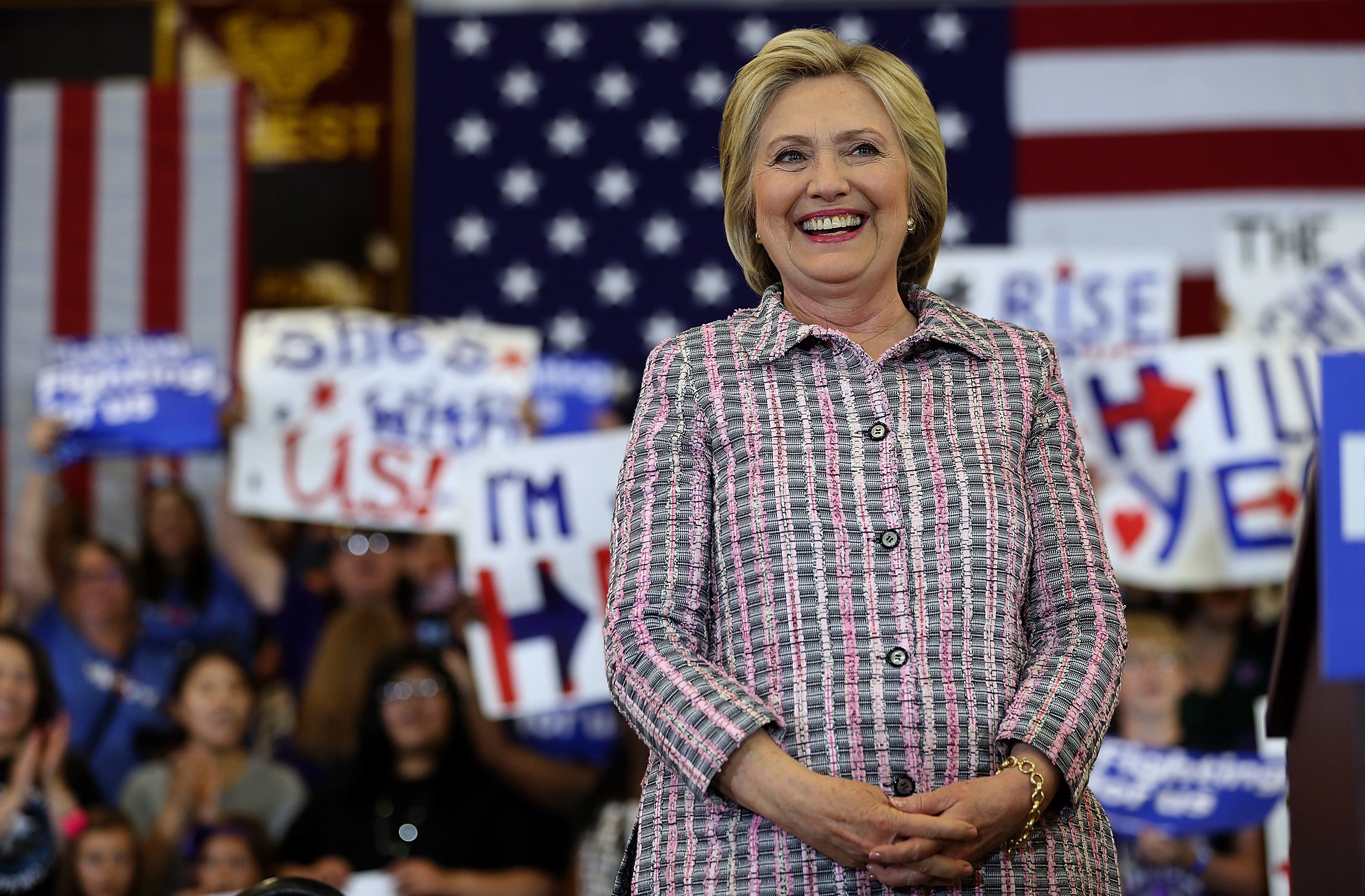 Democratic presidential candidate former Secretary of State Hillary Clinton looks on during a campaign rally at Sacramento City College on June 5, 2016 in Sacramento, California. The California primary is June 7.
