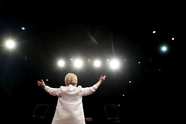 Democratic presidential candidate former Secretary of State Hillary Clinton speaks during a primary night event on June 7, 2016 in Brooklyn, New York. Hillary Clinton beat rival Bernie Sanders in the New Jersey presidential primary