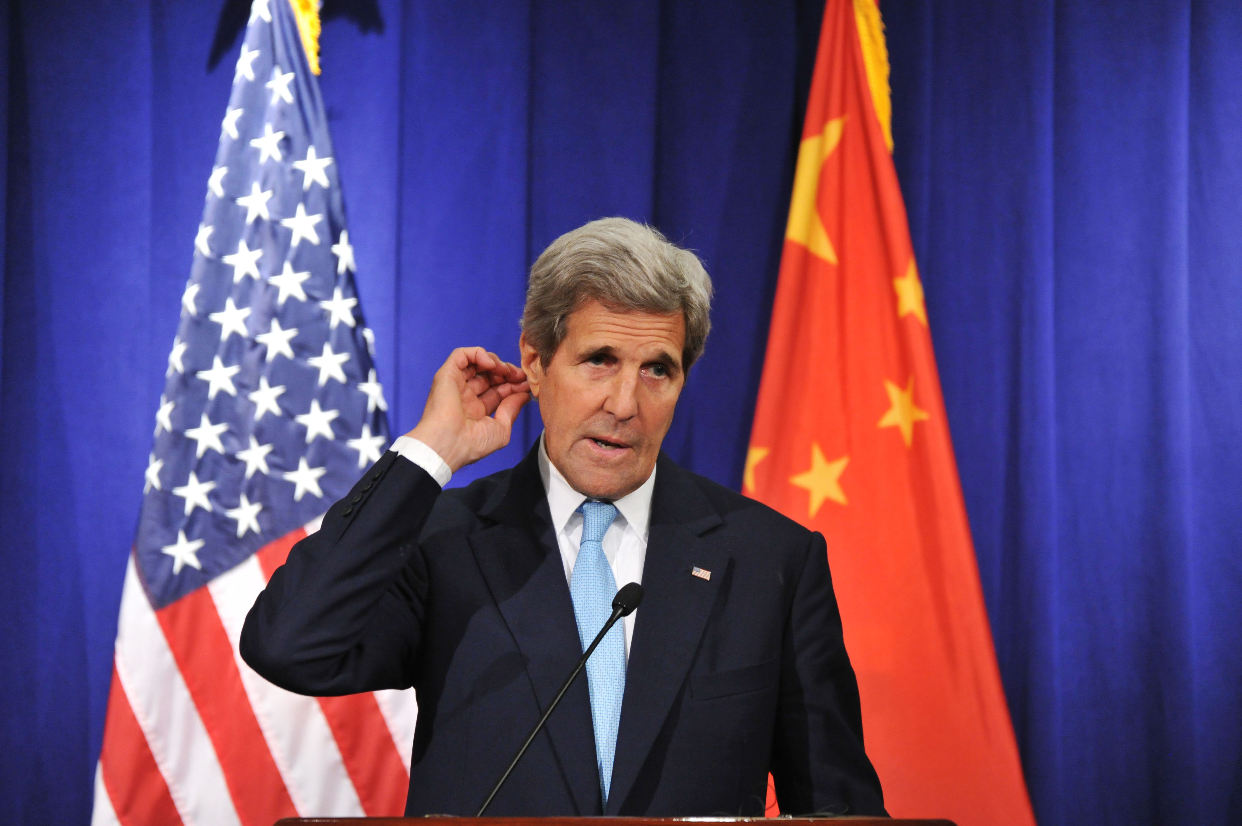 BEIJING, CHINA - JUNE 07: (CHINA OUT) US Secretary of State John Kerry delivers a speech on a press conference during the Eighth Round of US - China Strategic and Economic Dialogues & the Seventh Round of US - China High-Level Consultation on People-to-People Exchange on June 7, 2016 in Beijing, China. As two large economic nations, the dialogues and cooperation between US and China will make significant repercussions to world economy.