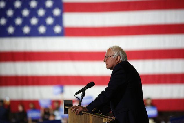 Democratic presidential candidate Sen. Bernie Sanders speaks at Barker Hangar on June 7, 2016 in Santa Monica, California.