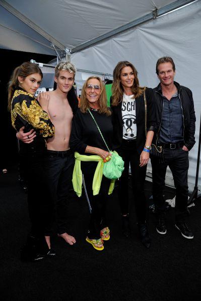 Kaia Gerber, Presley Gerber, stylist Carlyne Cerf de Dudzeele, Cindy Crawford, and Rande Gerber