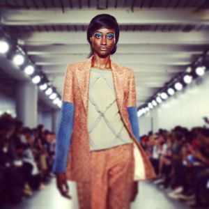 A model walks the runway at the Casely Hayford show during The London Collections Men showing off its new womenswear line.