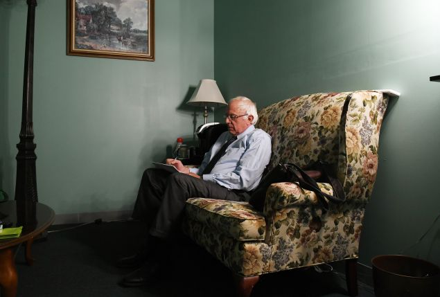 Presidential candidate Bernie Sanders prepares to speak for a video to supporters at Polaris Mediaworks on June 16, 2016 in Burlington, Vermont.