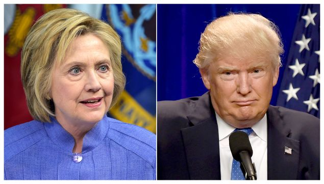 This combination of file photos shows Democratic presidential candidate Hillary Clinton(L)on June 15, 2016 and presumptive Republican presidential nominee Donald Trump on June 13, 2016. / AFP / dsk