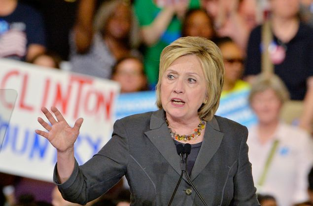 Presumptive Democratic presidential nominee Hillary Clinton speaks during a campaign event at the North Carolina State Fairgrounds on June 22, 2016 in Raleigh, North Carolina. Clinton discussed her vision for America in the future and the issues she would tackle if elected president.
