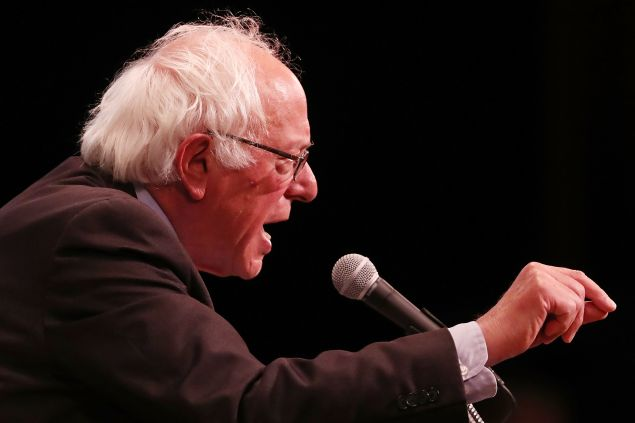 U.S. Sen. Bernie Sanders (D-VT) speaks to supporters in Manhattan at an event where he went over his core political beliefs on June 23, 2016 in New York City. Speaking to an enthusiastic crowd, Sanders did not speak about Hillary Clinton who has secured the delegates to win the Democratic presidential nomination.
