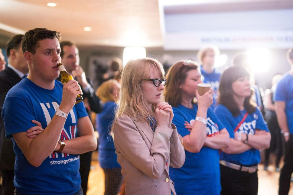 Supporters of the Stronger In Campaign watch the results of the EU referendum being announced at the Royal Festival Hall.