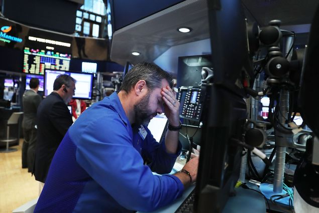 The NYSE following news of the Brexit, as the Dow drastically fell.