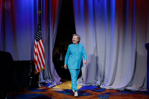 Democratic presidential candidate Hillary Clinton arrives at the U.S. Conference of Mayors June 26, 2016 in Indianapolis, Indiana. Clinton discussed her vision for American cities.