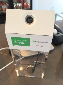 The Hands Free payment system seen at Off The Stick Kabob in Sunnyvale, California.