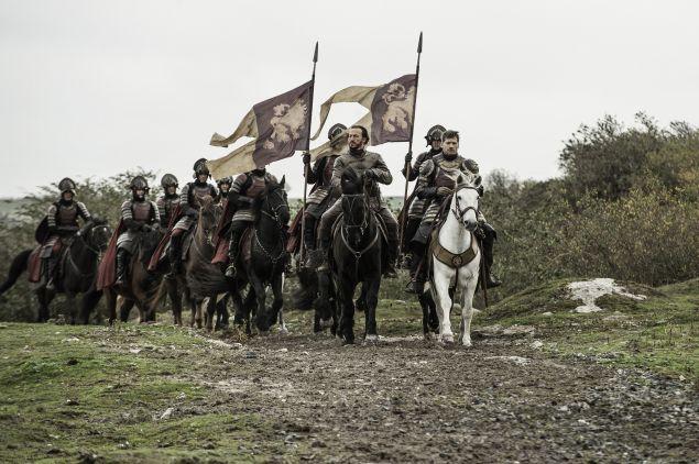 Jerome Flynn as Bronn and Nikolaj Coster-Waldau as Jaime Lannister.