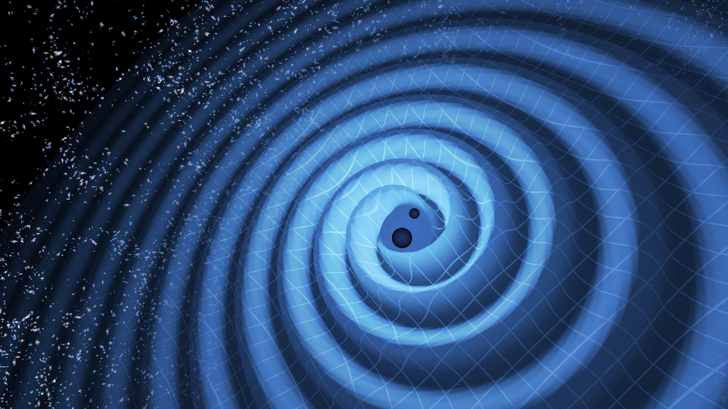 Illustration of the merger of two black holes and the gravitational waves that ripple outward as the black holes spiral toward each other.