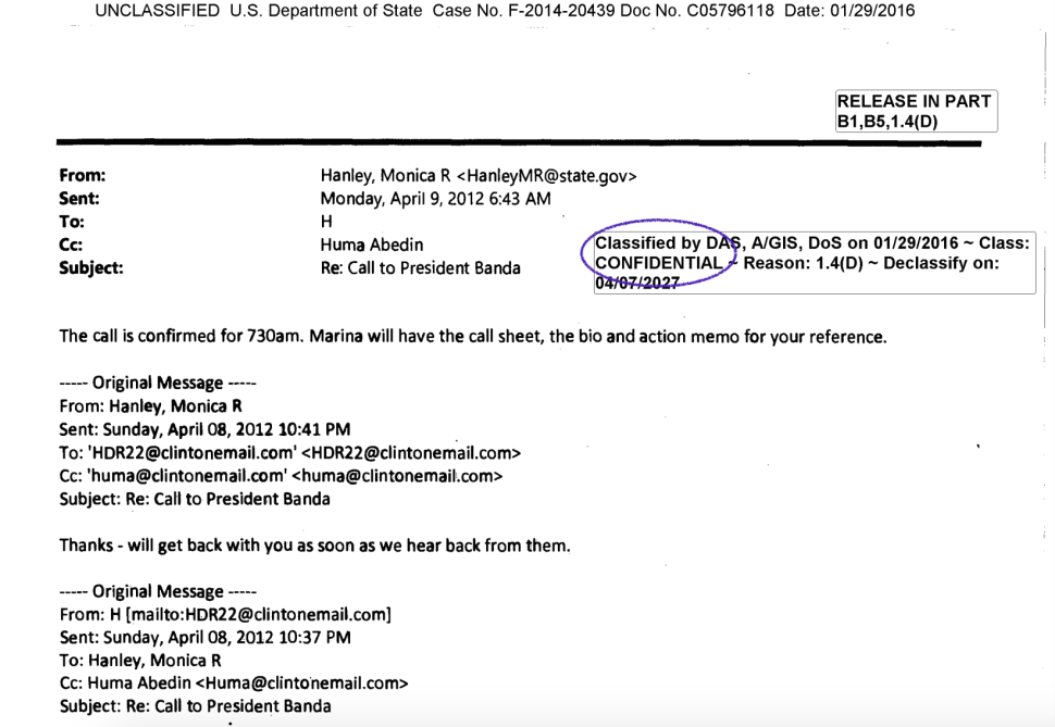 """This email, which was classified as """"Confidential,"""" was sent to Hillary Clinton on her private server and then forwarded by her."""