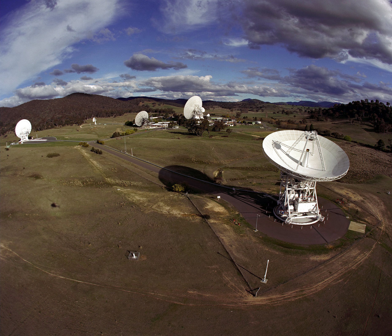 The Canberra Deep Space Communications Complex in Australia is part of NASA's Deep Space Network, receiving and sending radio signals to and from spacecraft.