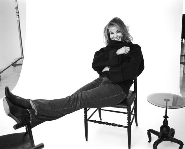 Actress Jessica Lange in stark relief.