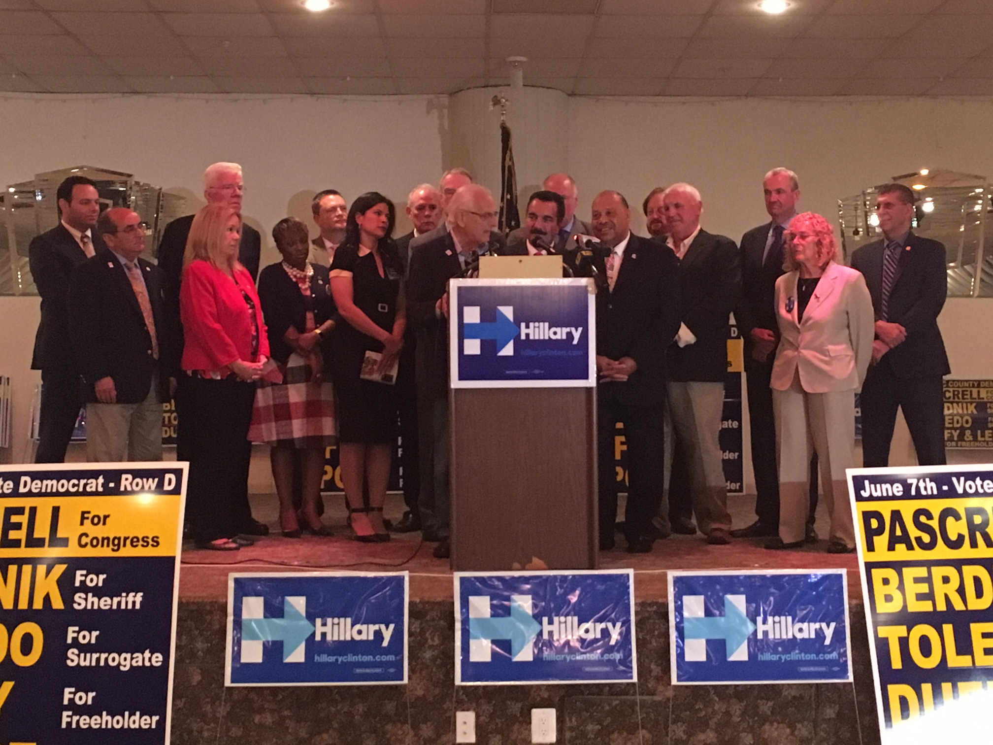 New Jersey Democrats celebrate Clinton's win.