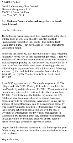 This letter, obtained by the Observer, was sent by a lawyer representing the Fruchthandler real estate family and a prominent yeshiva. It seeks the return of more than $600,000 that Platinum Partners withheld when the clients withdrew their investment.