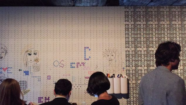 The pop-up's interactive coloring wall