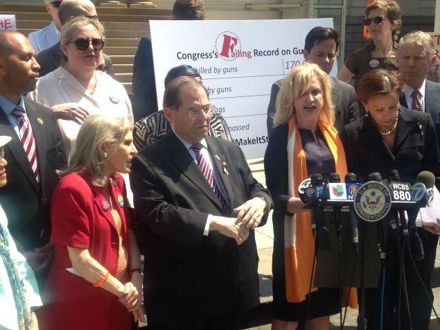 Congresswoman Carolyn Maloney, center, with Congressman Jerrold Nadler, Congressman Hakeem Jeffries and Congresswoman Nydia Velazquez, among others.