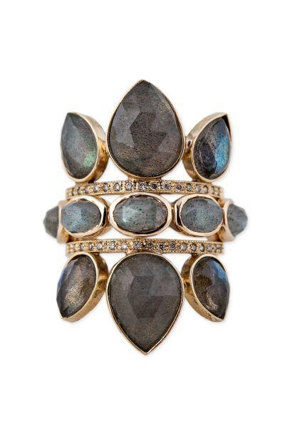 Jacquie Aiche 14K Pave Diamond Triple Labradorite Petal Ring, $2,190; 14K Labradorite Eternity Ring, $1,190