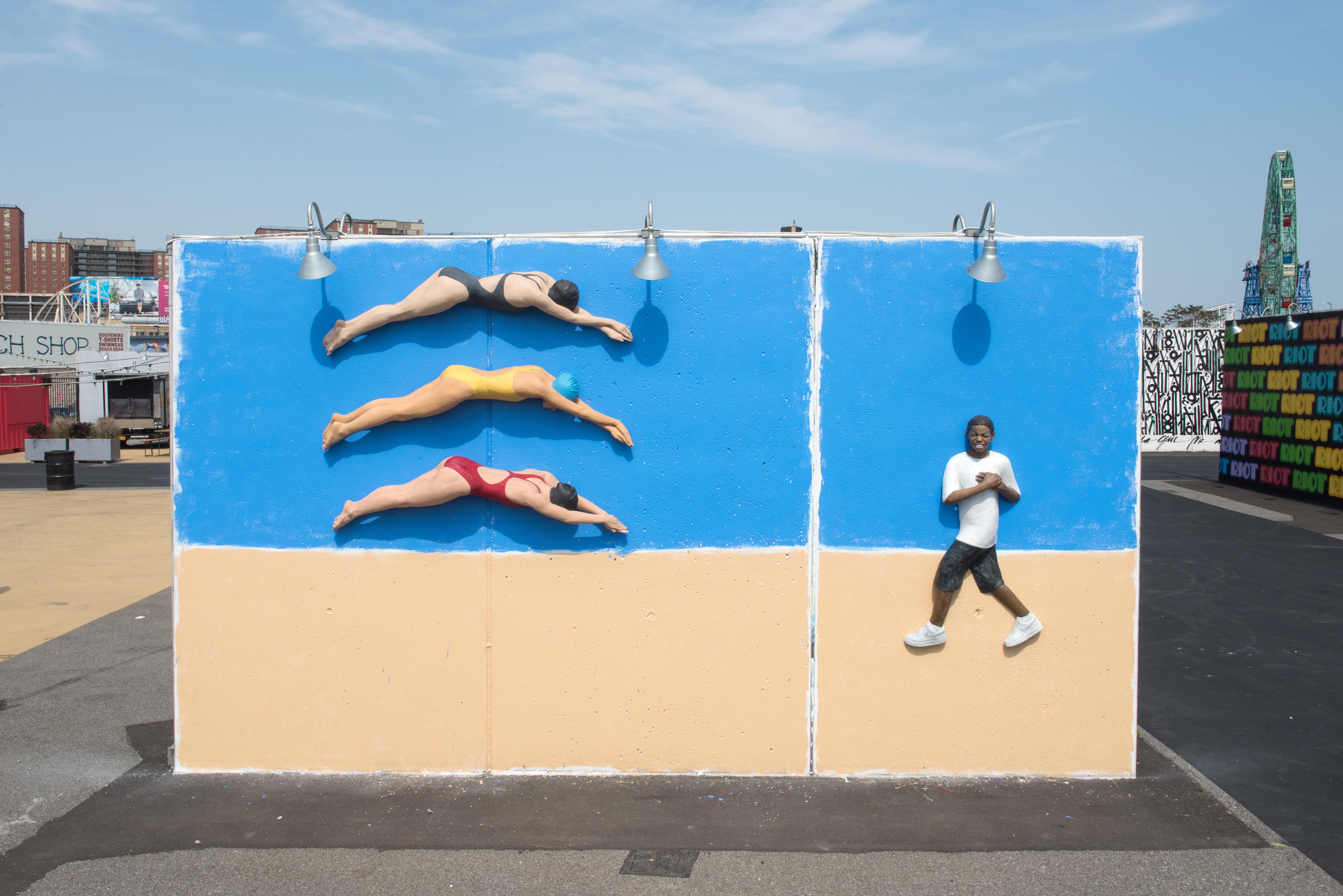 John Ahearn's art wall at Coney Art Walls June 8.