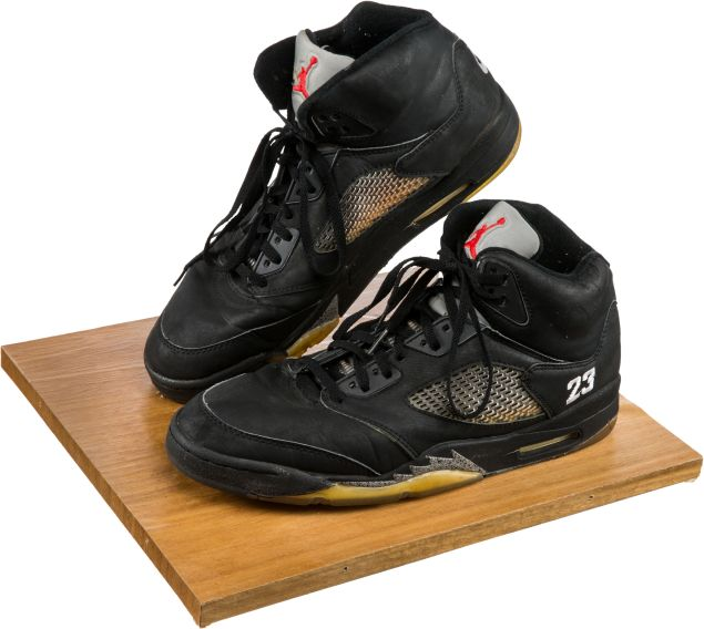 Michael Jordan's Nike Air Jordans from game three of the 1990 Pistons-Bulls Eastern Conference Finals. Jordan gifted the sneakers to Houston, who sang the National Anthem that night, after the game.