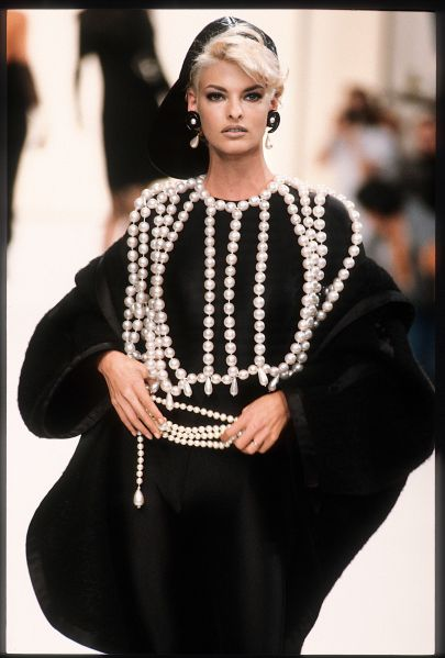 Linda Evangelista in Chanel's F/W 1992 ready-to-wear collection, from Chanel Catwalk: The Complete Collections of Karl Lagerfeld, $75
